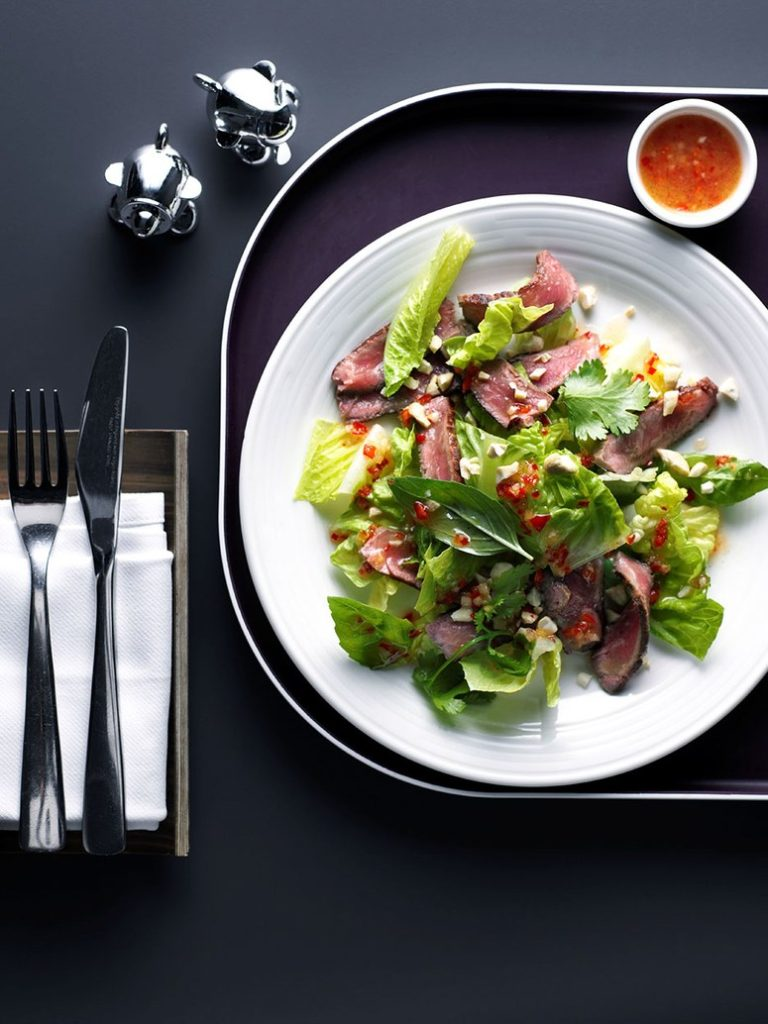 Virgin Atlantic - Thai Beef Salad. SkyLuxTravel Blog. SkyLux - Discounted Business and First Class Flights