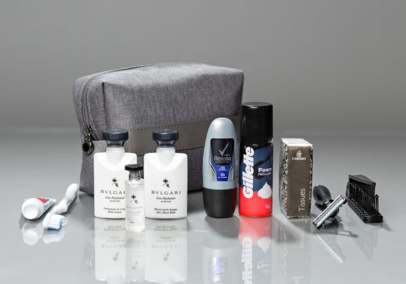 What's Inside a Business Class Amenity Kit: Emirates Airlines Business Class Amenity Kit. SkyLux - Discounted Business and First Class Flights