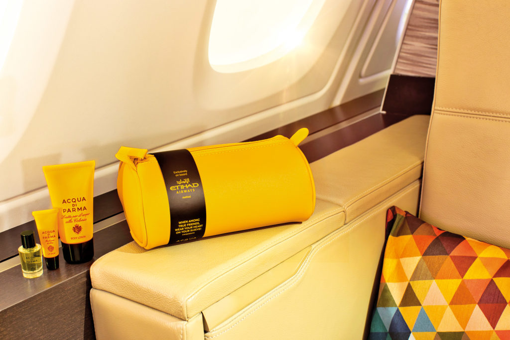 Business Woman Flight Must-Haves: Business Class Etihad and Acqua di Parma Amenity Kit. SkyLux - Discounted Business and First Class Flights.