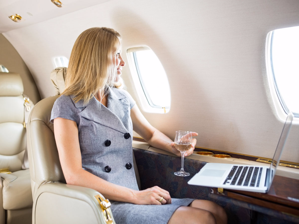 Business Woman Flight Must-Haves. Business Class Working Station